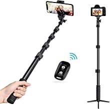 UBeesize Selfie Stick with Tripod Stand, 49 inch Extendable Selfie Stick Tripod with Universal Phone Mount & Bluetooth Remote for iPhone & Android Phone, Heavy Duty Aluminum, Lightweight