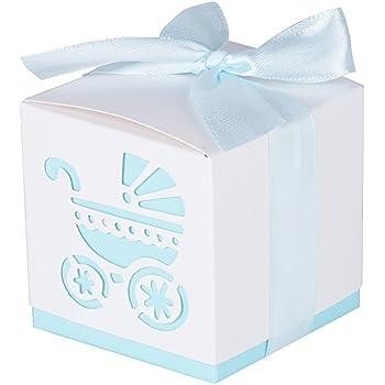 AONER 50Pcs Cajas de Papel de Bombones Regalos Detalles para Invitados de Boda, Fiesta, Comunion o Bautizo, Cumpleaños con Cintas (Cochecito-Azul): Amazon.es: Hogar
