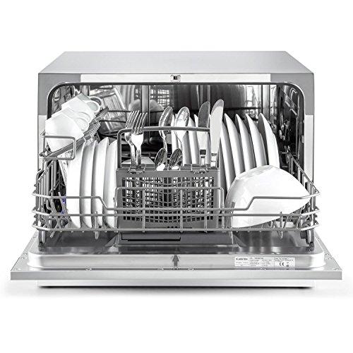 Klarstein Amazonia 6 - Lavavajillas empotrable, 6 modos de funcionamiento, Programa estándar: 120 min, Función Aquastop, Silencioso: 49 dB, 1380 W, 1820 L/año, clase Energética F, Plateado