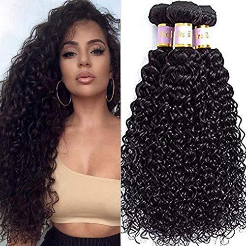 Brazilian Curly Hair 3 Bundles100% 8A Unprocessed Brazilian Virgin Kinkys Curly Real Human Hair Extensions Natural Black(10 12 14)