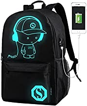 School Backpack Cool Unisex Canvas Anime Luminous Backpack with USB Cable & Lock & Pencil Bag (Black)