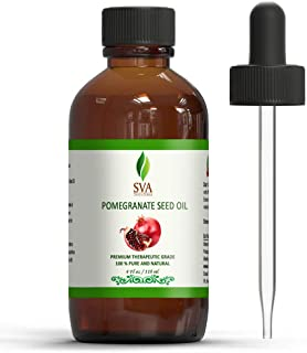 SVA Organics Pomegranate Seed Oil 4 Oz Cold Pressed Unrefined Carrier Oil for Face, Skin, Hair, Diffuser, Body Massage & N...