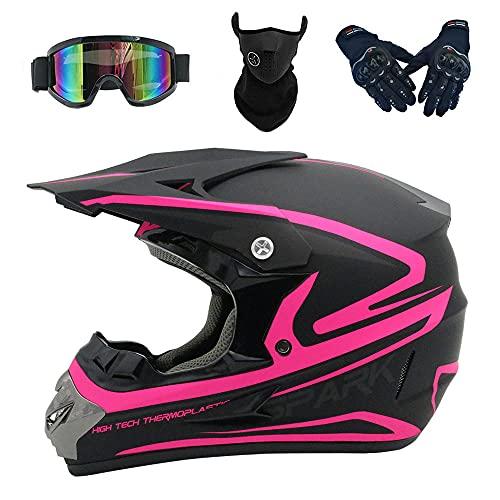 IDWX Casco De Motocicleta para Adultos, Casco De Seguridad De Cubierta Completa para Motociclismo Y Carreras para Todas Las Estaciones, S-XL, Rosa