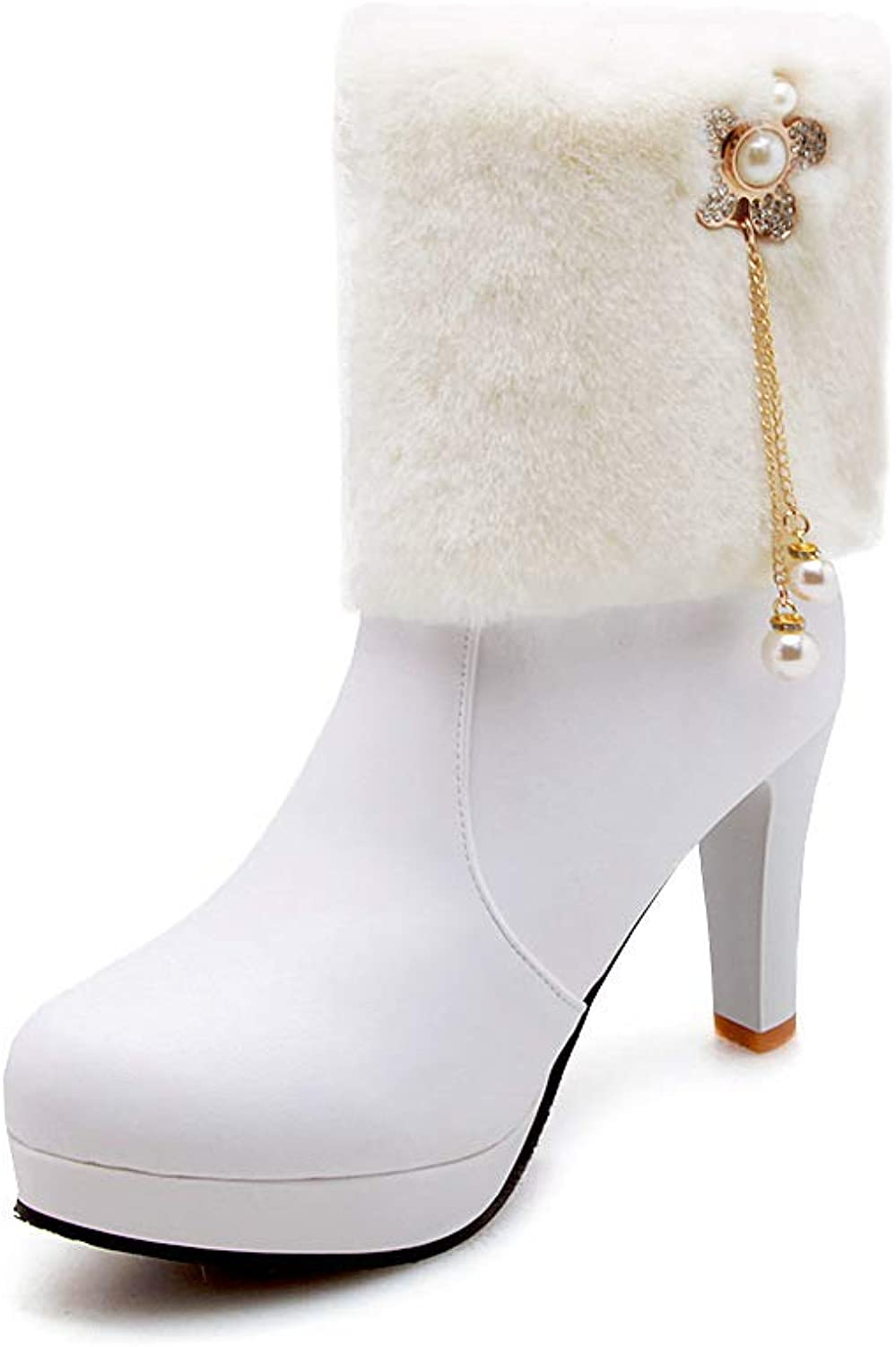 Women Fashion Plush Ankle Boots 2018 Winter New Warm Rhinestones Pearl Snow Boots Large Size 4043 High Heel Boots