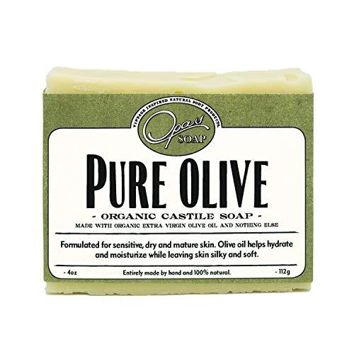 Pure Olive Soap | Organic Extra Virgin Olive Oil | Castile Soap for super Sensitive & Mature Skin| Hypoallergenic, Moisturizes, Anti-aging,