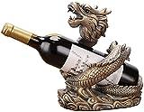 TAIDENG Escultura Decoración de Mesa Adornos Feng Shui Dragon Wine Rack Adornos Botellero Estante de vino Oficina Gabinete de vino Decoración Lucky Salón Decoraciones (Color: A)