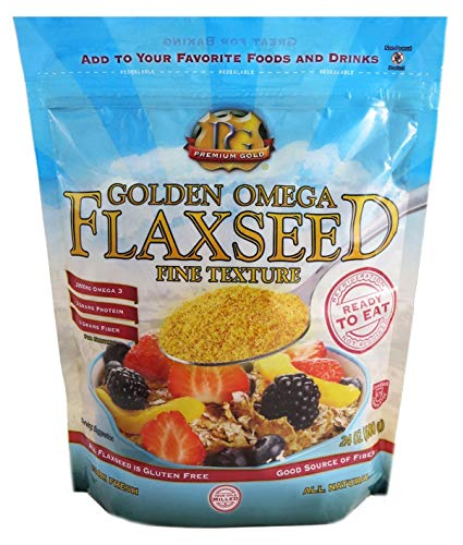 Premium Gold Ground Flax Seed | High Fiber Food | Omega 3 | 24oz, Multi Color