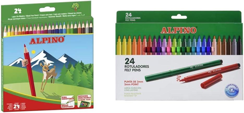Alpino Lapices de Colores Estuche de lápices de madera 24 unidades + Rotuladores Coloring para Niños Estuche de 24 Colores