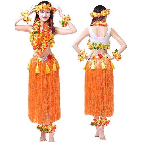 G-Like Hula Tanz Kleid Kostüm - Hawaii Tanzkleid Grasrock Zubehör Sexy Outfit Kleidung Set Verzierung Quasten Blumen Party Cosplay Maskerade Strandurlaub für Damen Mädchen - Kunststoff 8 In 1 (Orange)