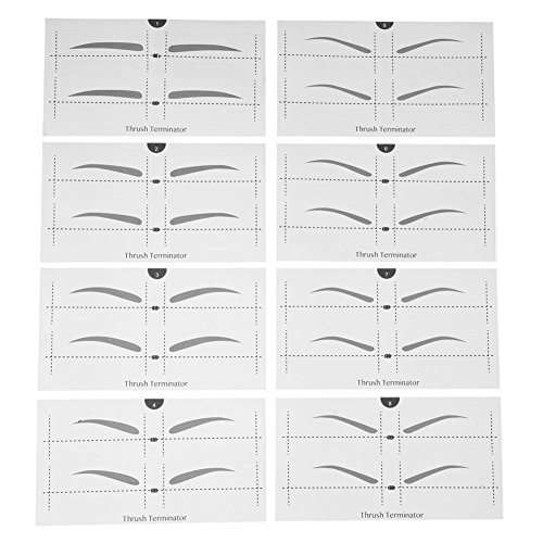 Domybest Boîte 8 sortes sourcils Stickers Pochoir modèles sourcils Modèle Shaper Outil
