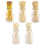 125 piezas pajitas de papel dorado 6x197mm pajitas de fiesta biodegradables papel de aluminio con patrón puntos corazón onda rayas doradas puras pajitas de beber reciclables pajitas artesanales papel