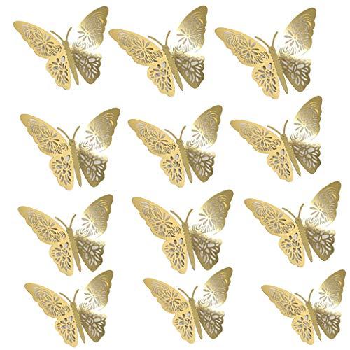 Kolylong® 12 Stücke 3D Schmetterling Wandaufkleber Schmetterling Dekoration DIY Wandkunst Aufkleber Schlafzimmer Baby Dekor Abziehbilder Abnehmbare Dekorative Papier Wandbilder