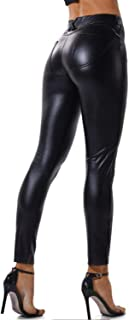 Women's Sexy Faux Leather Pants High Waisted Pu Leggings Walking Tights