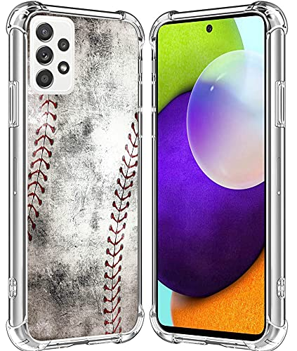 A32 Case/IWONE Designer Rubber Durable Protective Skin Transparent Cover Shockproof Compatible with Samsung Galaxy A32 5G Creative Vintage Baseball Art Printing