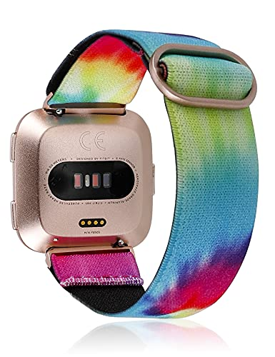 TOYOUTHS Compatible with Fitbit Versa 2 Bands Elastic Strap Replacement for Versa Lite Edition Adjustable Nylon Fabric Solo Loop Scrunchies Bracelet Stretchy Wristband Women (Tie Dye Rainbow)
