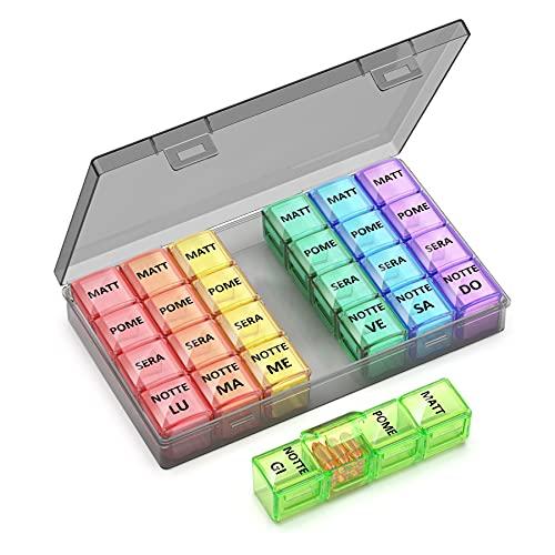 Portapillole Settimanale ITALIANO 7 Giorni Pill Box Giornaliero 28 Scomparti Grande Stampa per Gli Anziani - Colore (Colore)
