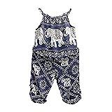 2Pcs/Set Kids Baby Girls Elephant Jumpsuit Romper, Straps Tops+Harem Pants Outfit (1-2 Years, Blue)
