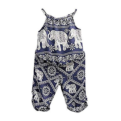 Bebé Recién Nacida Ropa Verano 2 Piezas Traje para Niñas Pequeñas Top Camiseta sin Manga de Tirantes + Pantalones con Estampado de Elefante Conjunto de Moda para Baby Girl 1-2 Años