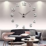 Reloj de pared, Relojes de pared de bricolaje de acrílico 3D Reloj de pared de bricolaje grande en Wall Home Office Decor Luminou Watck Pegatina Cuarzo Reloj de pared grande