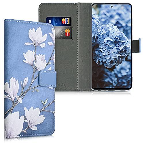 kwmobile Carcasa Compatible con Samsung Galaxy A72 - Funda de Cuero sintético con Magnolias - Case con Tarjetero