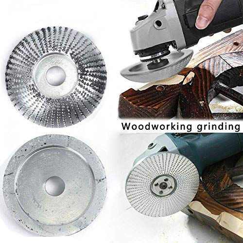 Woodworking Grinding Grinder Wood Tungsten Carbide Grinding Wheel Grinder Shaping Disc Carving Tool Abrasive Disc for Angle Grinder Attachment Tool (85MM/3.3IN) (Silver)