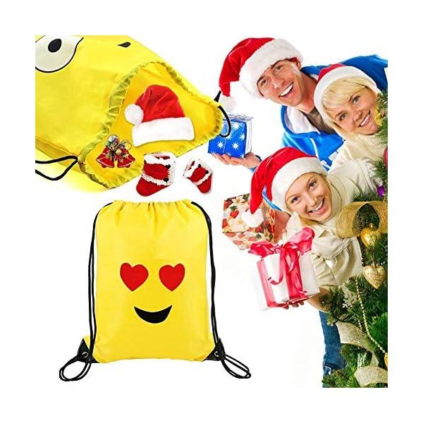 51cVLdQP6JL. SS600  - Emoji Bolsas de Cuerdas BESTZY 6PCS Mochilas Petate Emoticonos Emoji Mochilas Petates Infantiles Bolsas Regalo Cumpleaños Deporte Gimnasio Backpack
