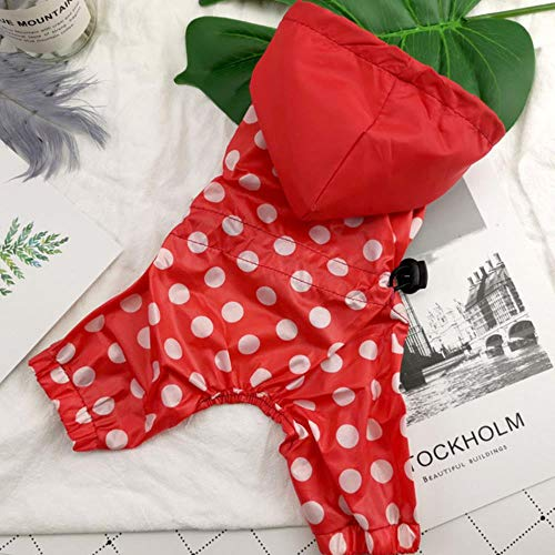Xinger Pet Dog Raincoat For Small Dogs Waterproof Jumpsuit Pet Clothes Polka Dot Raincoat Clothing Dog Cat Raincoat Chihuahua Teddy, Red, L