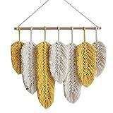 Tiamu Tapiz de Pared Tejido, Macrame Tapiz Pared Tapices decorativos con plumas de algodón tejido, para salón, cabecero, puerta, porche, decoración bohemia