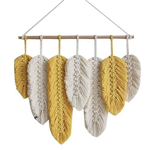 Kamenda - Tapiz para colgar en la pared de macramé hecho a mano con plumas de algodón tejidas para salón, cabecero de puerta, porche, decoración bohemia