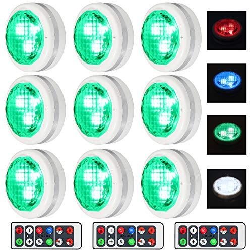 Justech 9PCs LED Luces para Armario a Pilas con IR Control Remoto y Tátil de 16 Colores 3 Modos de Iluminación 10 Niveles de Brillo Lámpara de Pared Sin Cables con Pegamento de Doble Cara
