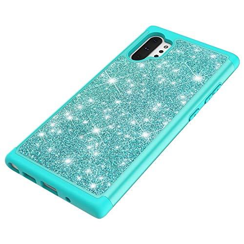 PHONETABLETCASE+ / para Samsung Galaxy Note 10+ Glitter Powder Contrast Piel Silicone + PC Funda Protectora,Protección de la Cubierta de la Cubierta a Prueba (Color : Green)