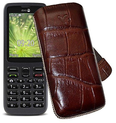 Original Suncase Tasche für Doro 5516 Leder Etui Handytasche Ledertasche Schutzhülle Hülle Hülle Lasche mit Rückzugfunktion* In Croco-Braun