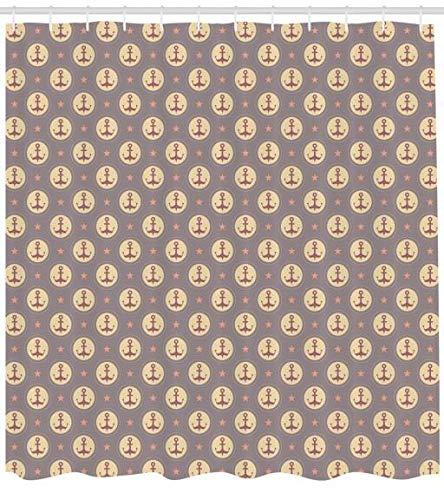 ABAKUHAUS Anker Duschvorhang, Maritime Muster Sterne, Set inkl.12 Haken aus Stoff Wasserdicht Bakterie & Schimmel Abweichent, 175 x 180 cm, Mauve Sand Braune Korallen