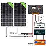 ECO-WORTHY 200W Monocristalino Solar RV Kit con controlador de carga LCD de 30A / batería de 100AH / inversor de 1000W 220V / soportes de montaje/cables solares/carcasa de entrada de cables