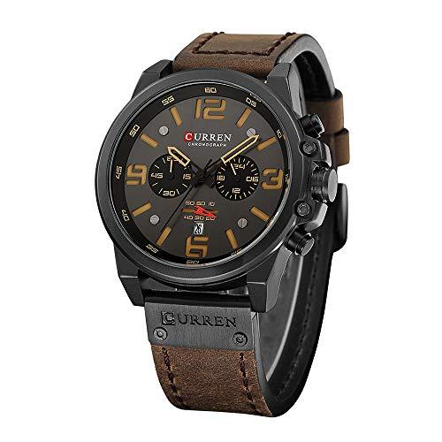 TEZER Quartz Uhren Herren, Casual Chronograph Quartzuhr, Armbanduhr Männer Multifunktionale Militär Sport Wristwatch, Wasserdicht Lederarmband mit Datumsanzeige 8314