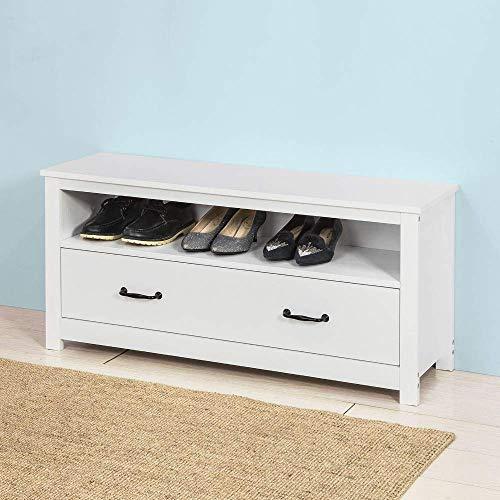 KFDQ Household Stool-White Shoe Rack Storage Bench Shoe Cabinet Organizer Drawer W99 × D30 × H47Cm