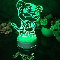 スマートフォンコントロール、LED 3Dナイトライトタイガーパターンフィギュア常夜灯用子供寝室の装飾デスクランプ16色