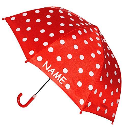 alles-meine.de GmbH Kinderschirm / Regenschirm -  Punkte rot & weiß  - incl. Name - Ø 74 cm - Schirm für Kinder Stockschirm mit Griff - für Mädchen & Jungen - Polka Dots - Kind..