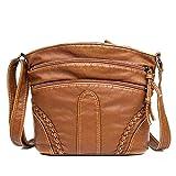 whcct Bolso de hombro de cuero PU suave para mujer, bolso de mensajero Retro, bolso bandolera multifunción para mujer, bolso diario de gran capacidad