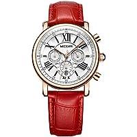 Reloj Mujer Reloj de Pulsera para Mujer (Cuarzo, Resistente al Agua, Correa de Piel auténtica) (2058 Rojo)