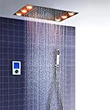 Columna de ducha ESIP, set de ducha termostático LED multifuncional, 360x500mm, modo lluvia, teleducha, accesorios de ducha de acero inoxidable 304, pantalla táctil digital inteligente