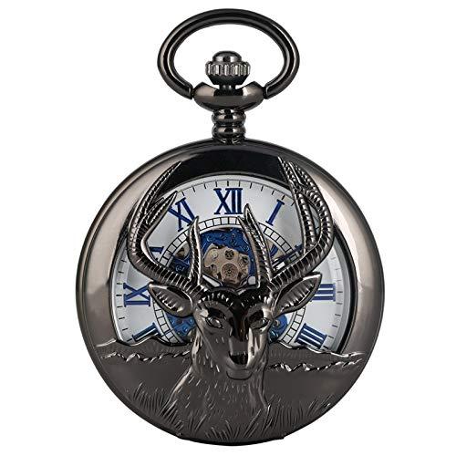 XVCHQIN Retro Negro Cabra Ahueca hacia Fuera Reloj De Bolsillo Mecánico Moda Azul Número Romano Esfera De La Cara Joyería De Aleación Premium Reloj De Cadena De Muñeca, Negro