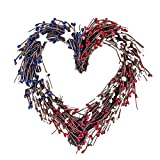 Pip Berry Twig Door Wreaths - Artificial Wreath with Red , Blue and Ivory/Vanilla Berries and Nature Plant Vine Heart Shaped, Small