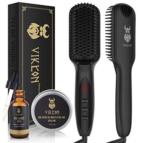 Beard Straightener w/FREE Beard Oil and Beard Balm - Anti-Scald/LCD Display