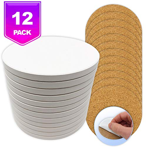 Ceramic Tiles for Crafts Coasters,12 Round White Tiles Unglazed 4-Inches with Cork Backing Pads, for Alcohol Ink or Acrylic Pouring, DIY Make Your Own Coasters, Mosaics, Painting Projects, Decoupage