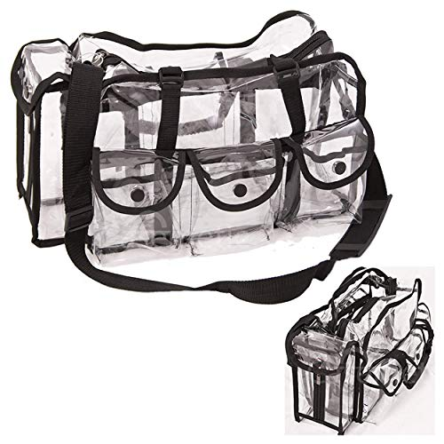 Casemetic Clear Tote Travel Bag with 6 External Pockets and Shoulder Strap for Makeup Artist, Large