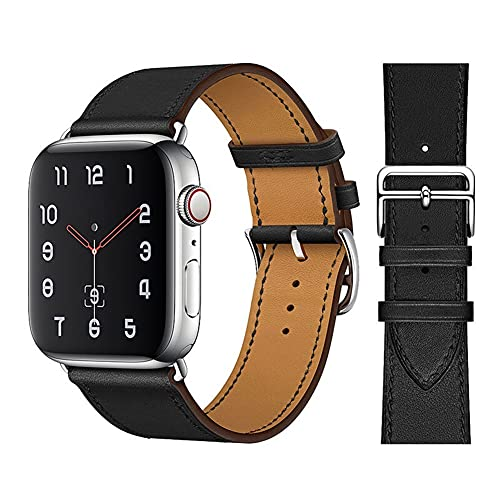 TRSX Correa de Reloj  Banda de cinturón de Pulsera de Bucle de Cuero para Ver 42mm 38mm 44mm 40 mm Correa para Pulsera (Band Color : 03 Black Silver, Band Width : For 38MM and 40MM)