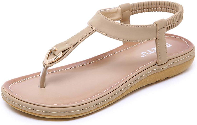 Women Ankle Strap Flat Sandals,Bohemian Metal Rhinestone Elastic Clip Toe Slip On Summer Beach Casual Sandals,Beige,US9.5B(M)