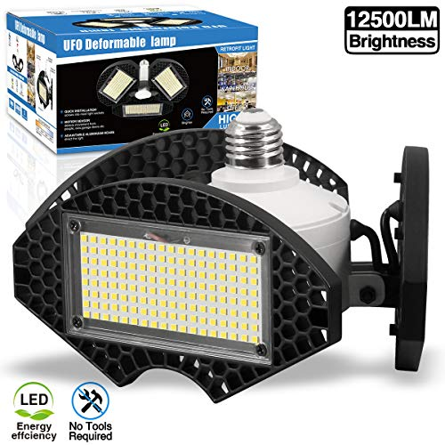 LED Garage Lights,100W Deformable LED Garage Ceiling Lights12500 LM CRI 80 Led Shop Lights for Garage, Garage Lights with 3 Adjustable Panels, Utility Led Garage Lighting (No Motion Activated) 100W1PK