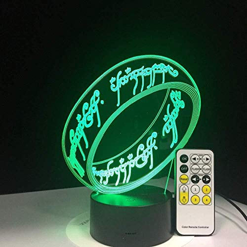 El señor de los anillos Luces 3D 7 colores Regalos para niños Recreación para niños Luces nocturnas Vacaciones Almacenamiento de película de lámina 3D-16 colors remote
